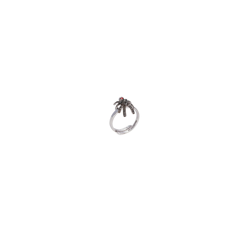 Mini spider gold band ring with pavé grey diamonds and sapphire