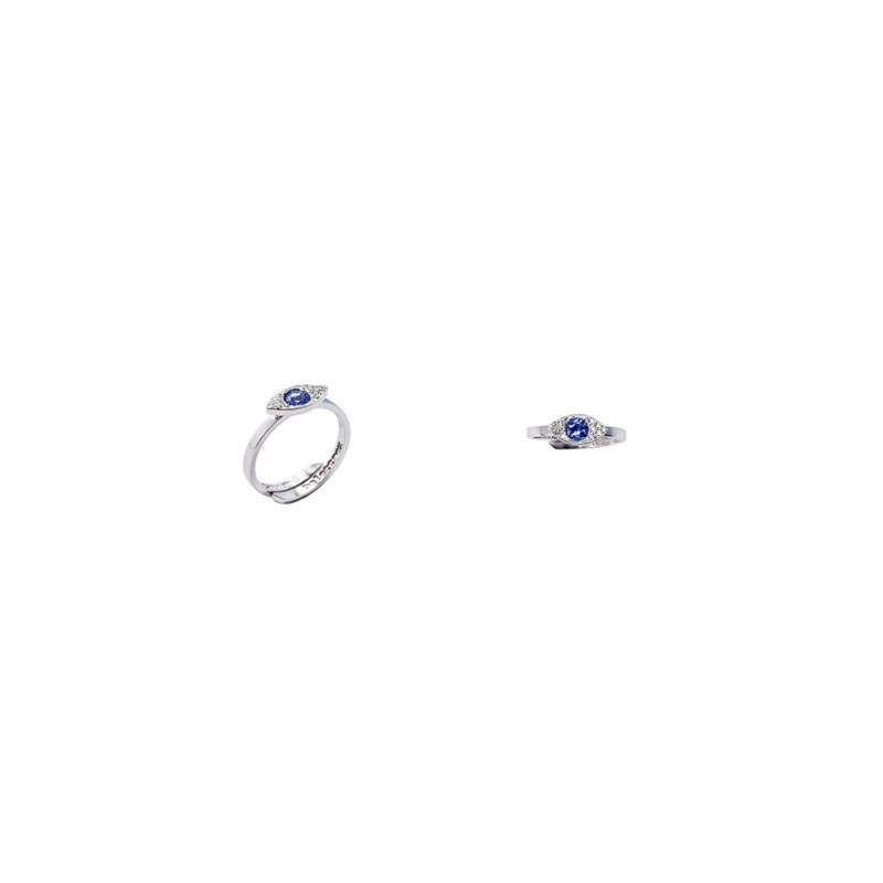 Mini eye gold band ring with diamonds and tanzanite