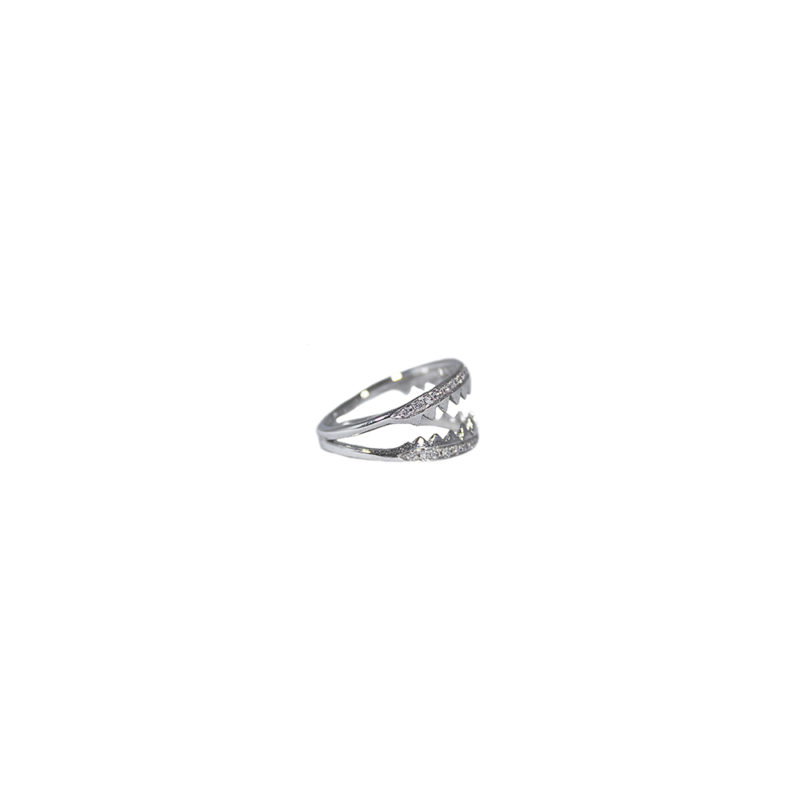 Shark jaws white gold ring with pavé diamonds