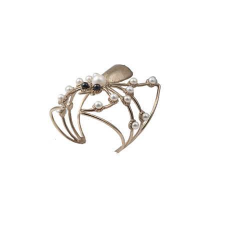 Giant spider bronze cuff bracelet with white and black pearls