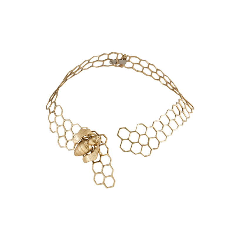 Brass honeycomb necklace with bee