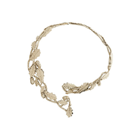Brass stiff necklace with oak leaves