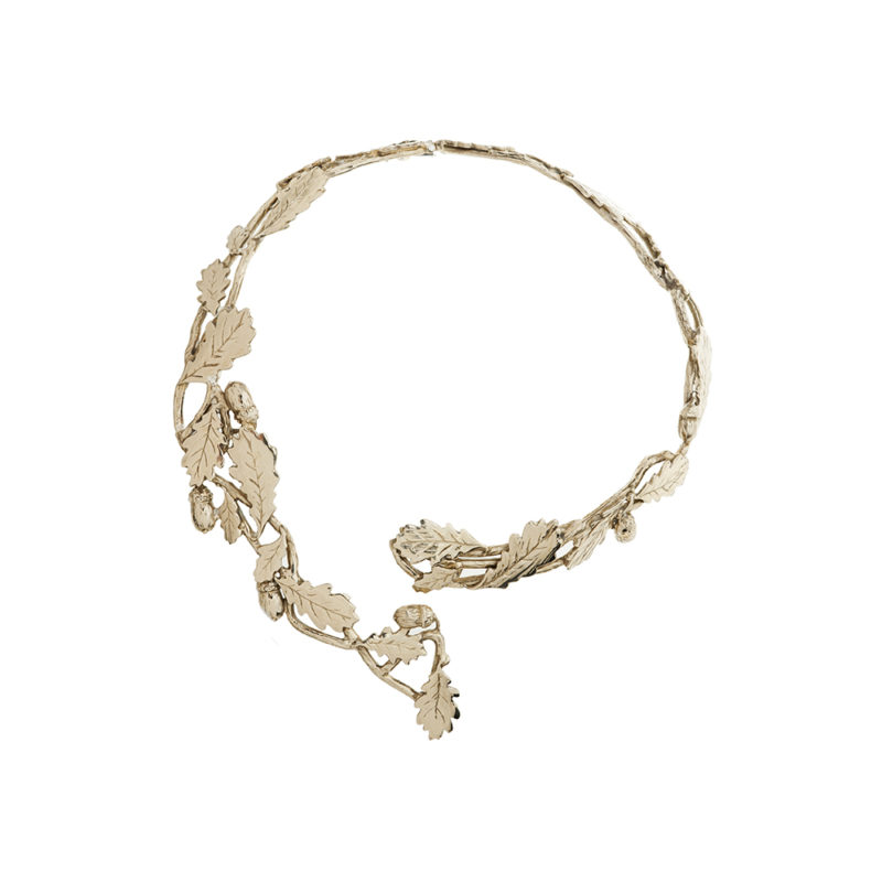 Brass stiff necklace with oak leaves and acorns
