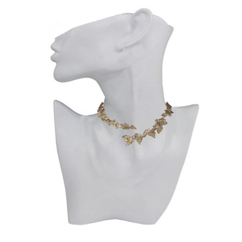 Brass grapes stiff necklace