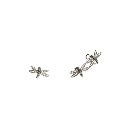 White gold earrings with pavé diamonds dragonflies 2 + 1