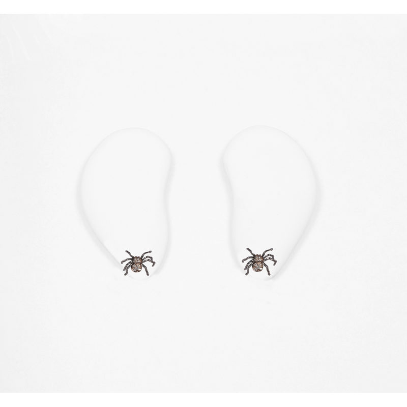 Gold spider earrings with pavé grey diamonds