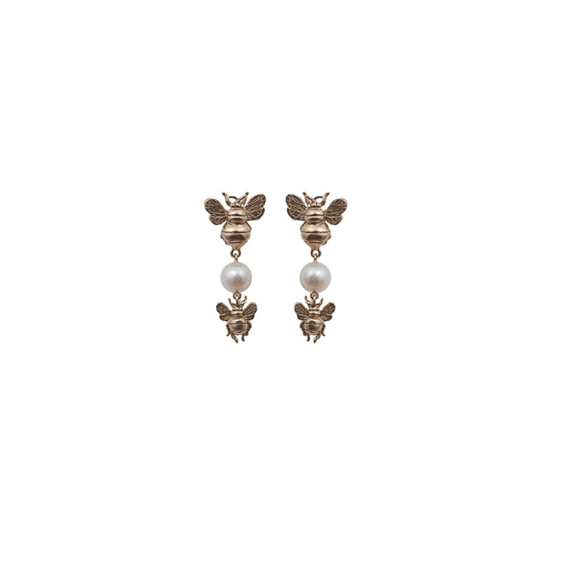 Bronze earrings with 2 bees and pearl