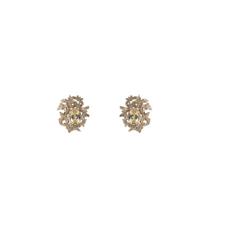 Multi butterflies bronze earrings with yellow zircons