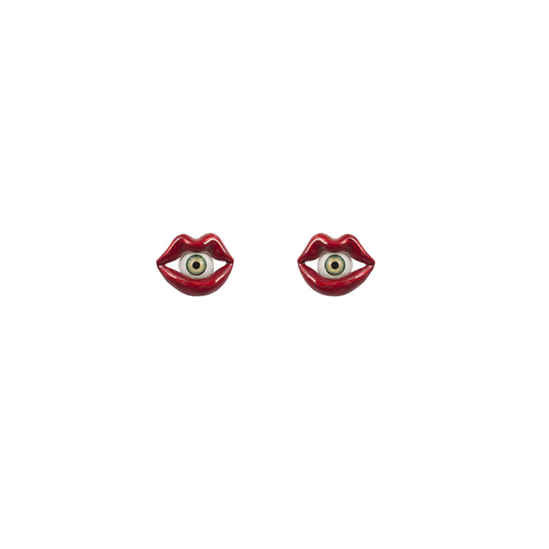 Red enamelled bronze mouth earrings with eye