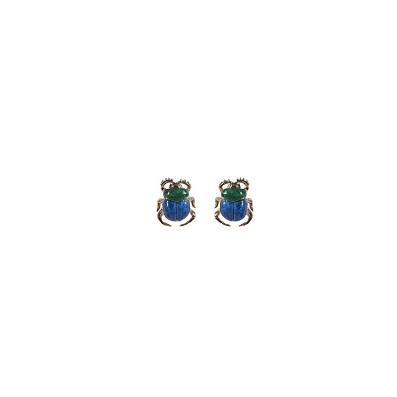 Scarab bronze earrings with enamel