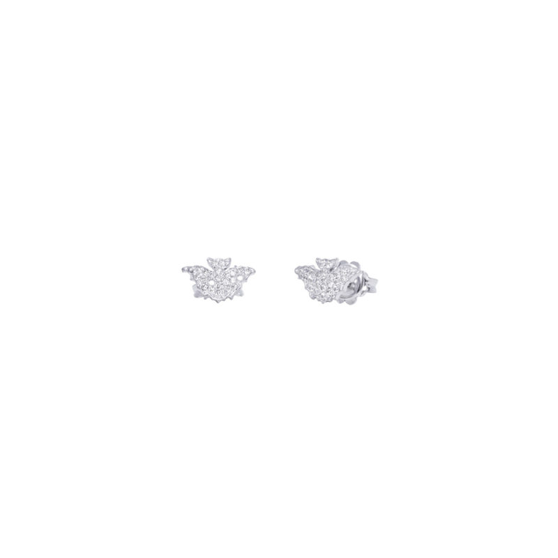 Mini bat gold earrings with pavé diamonds