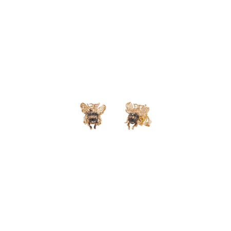 Mini bee gold earrings with diamonds