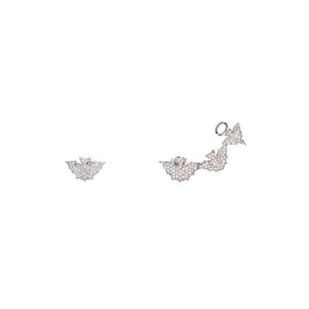 3 + 1 bats gold earrings with pavé diamonds