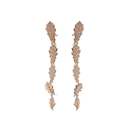 5 oak leaves bronze earrings